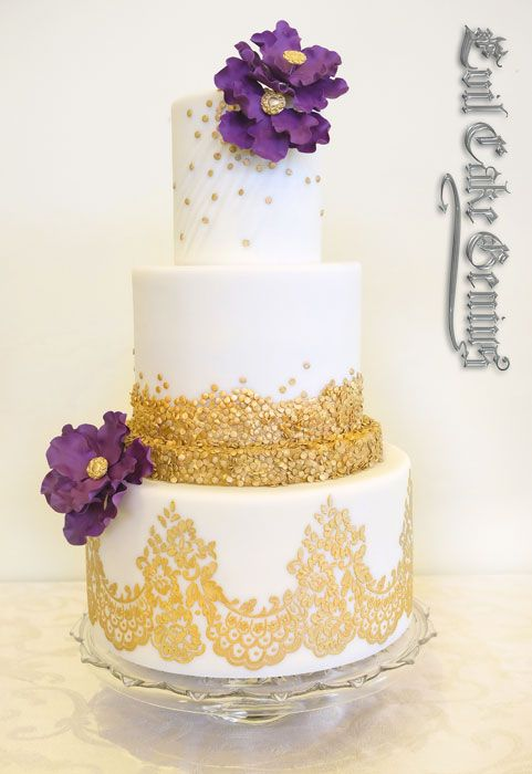 An Evil Cake Minion's sister's wedding cake using our Mantilla Lace Stencil and Gold Powder, both available at www.evilcakegenious.com