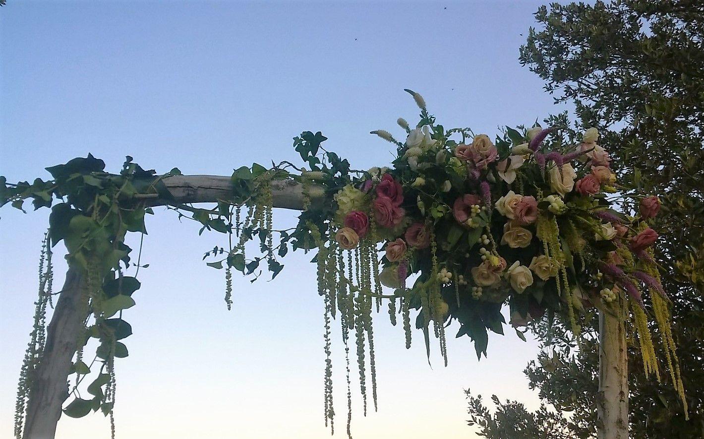 Souvent matrimonio. rito simbolico all'aperto. arco di legno slavato con  TQ46
