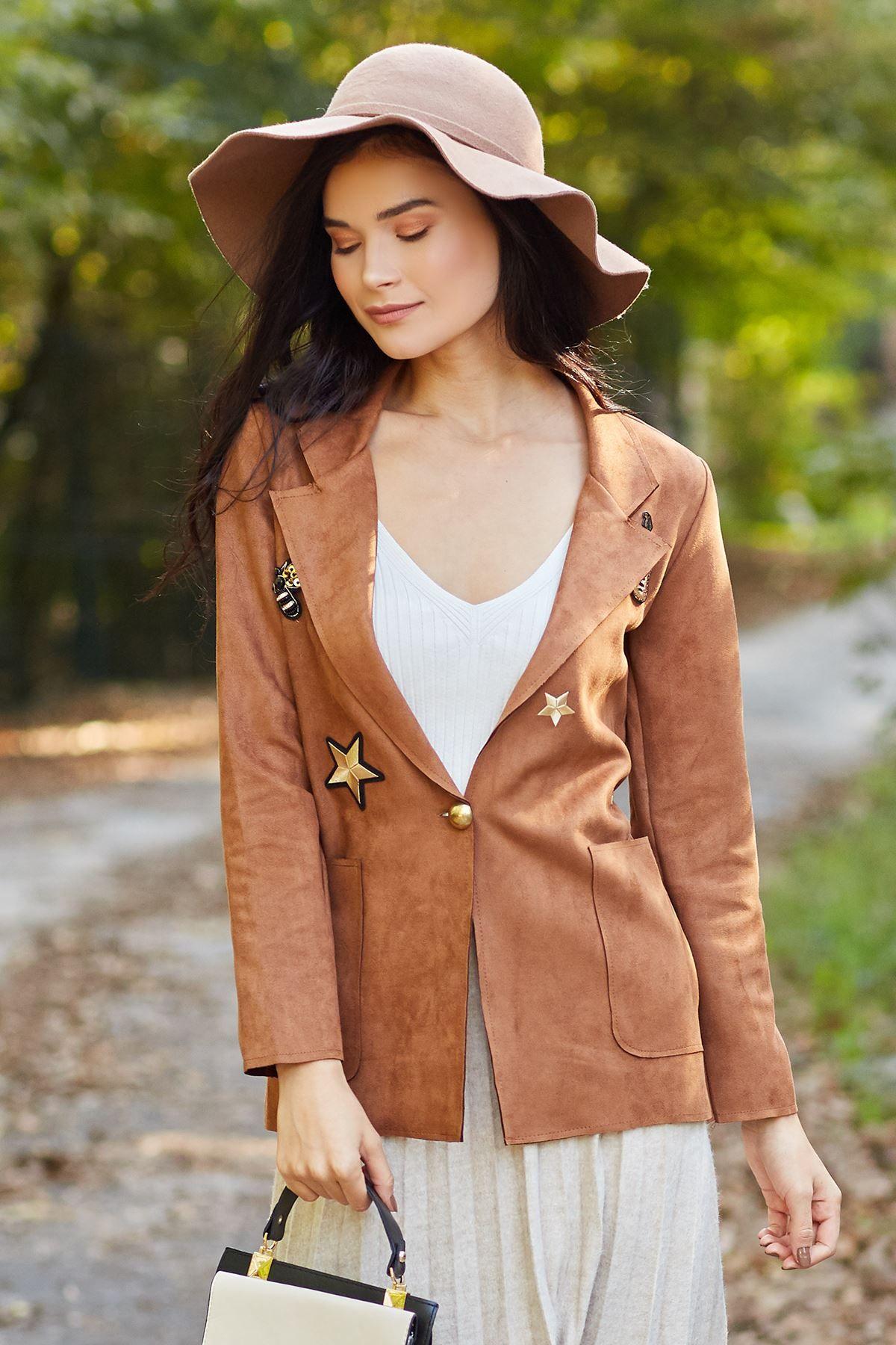 جاكيت Rock N Roll لون عسلي شيك هانم Women S Blazer Fashion Jackets