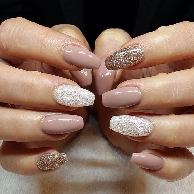While Fall nail designs are all about burgundy and burnt-orange palettes,  Winter is shades of dark and light grey, subtle sparkles, and nudes ombred  with ... - Love The Nude Mixed With The Lace And Glitter. Event Ready
