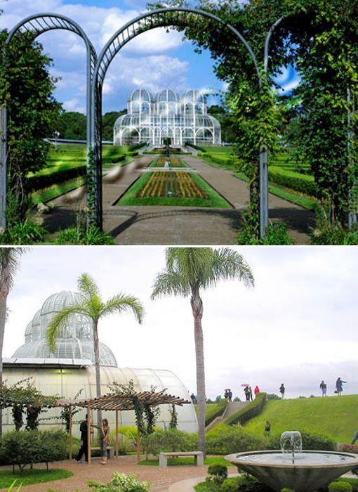 Jardín Botánico de Curitiba ciudad más grande en el sur de Brasil. Es la mayor atracción turística de la ciudad y alberga parte del campus de la Universidad Federal de Paraná