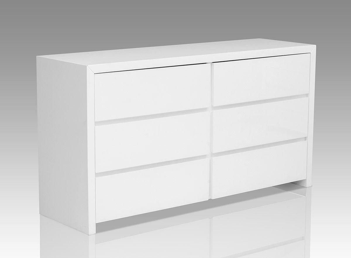 Bonita Modern White High Gloss  Drawer Dresser