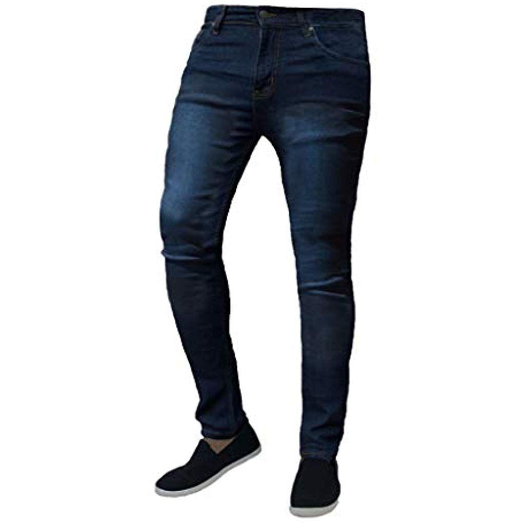 foto ufficiali 4a62e 65217 Rcool Jeans Neri Uomo Pantaloni Uomo Jeans Skinny Slim Fit Casual ...