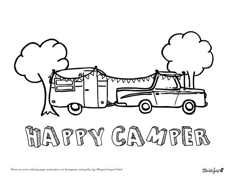 Happy-Camper-Coloring-Page-by-Modern-June | Camper | Pinterest ...