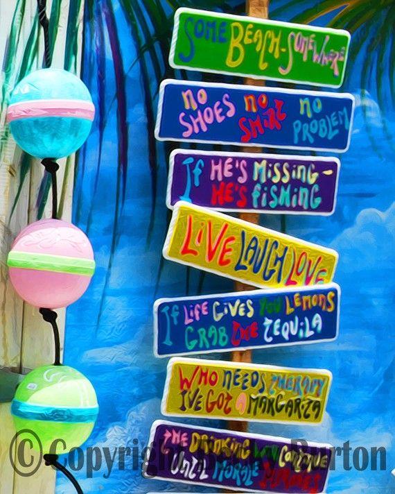 Tropical Sign Shack Key West 8x10 Photographic Print Wall Art Decor