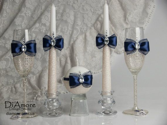 LACE / Navy blue and Ivory Wedding glasses / by DiAmoreDS on Etsy