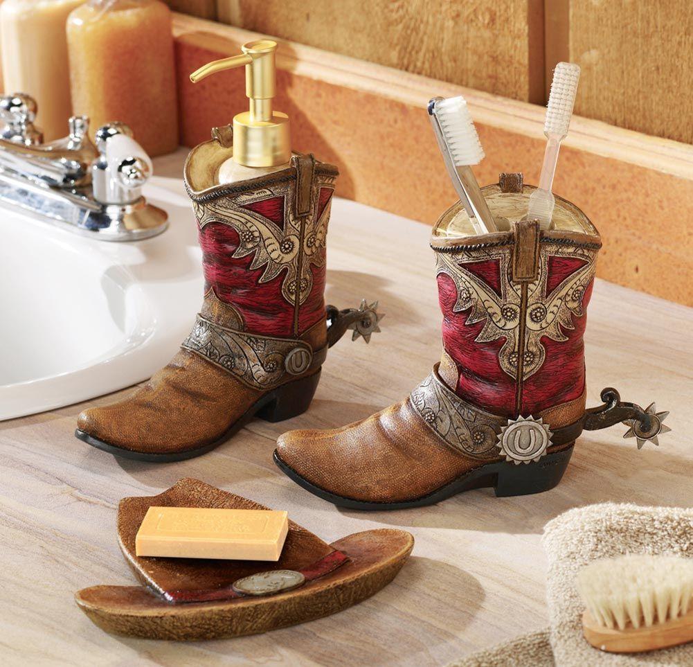 Western Theme Bathroom Decor Pair Of Cowboy Boots Hat Bath