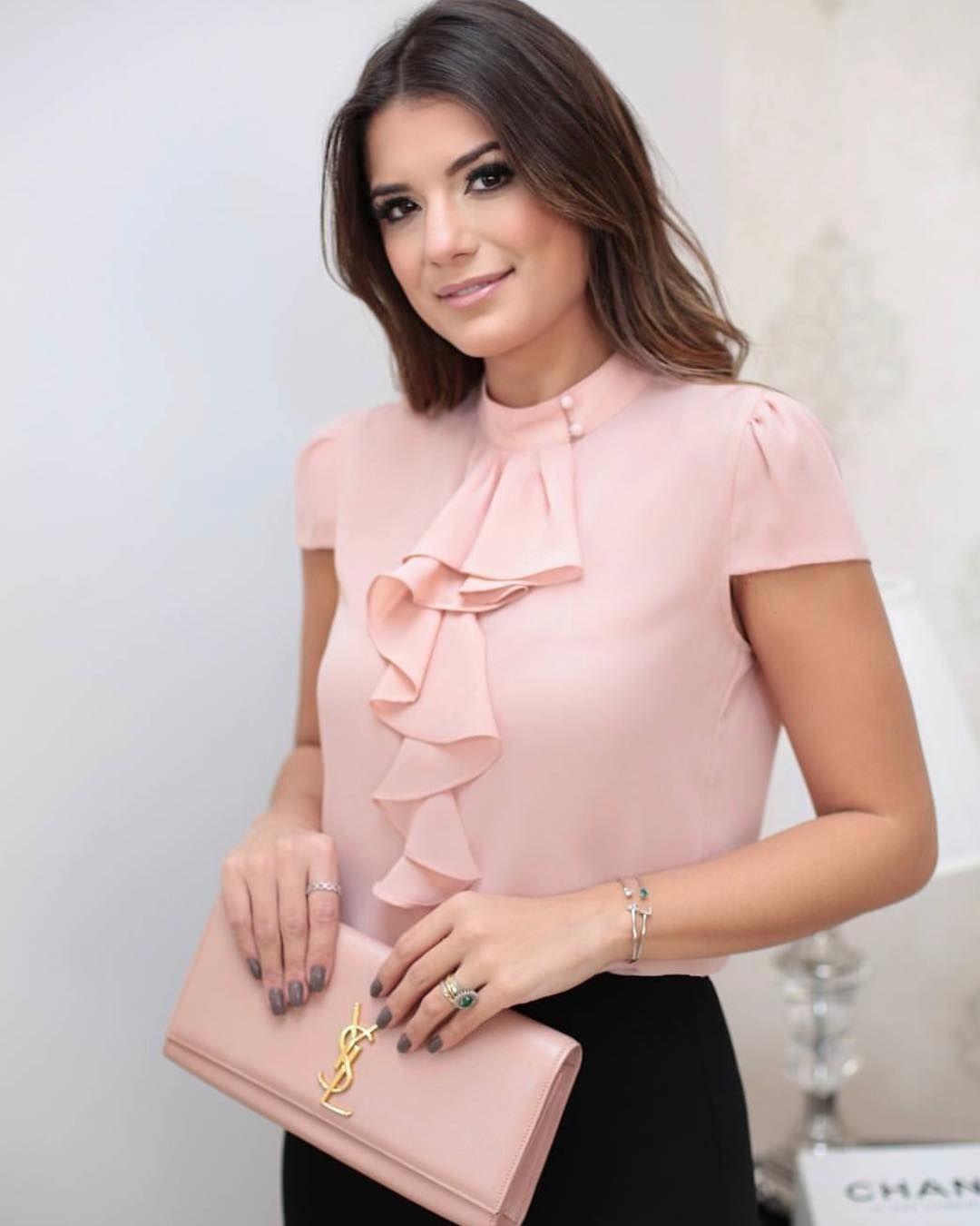 3cde520d9440 Blusa de moda rosada con bolero al frente: 🔱 Blusa rosada🔅Manga ...