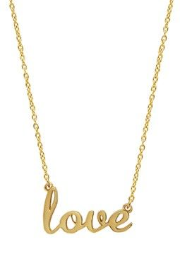 "Love this ""love"" necklace. Comes in silver, too"