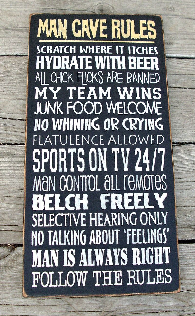 Large Wood Sign Man Cave Rules Man Cave Rules Man Cave Man Cave Signs