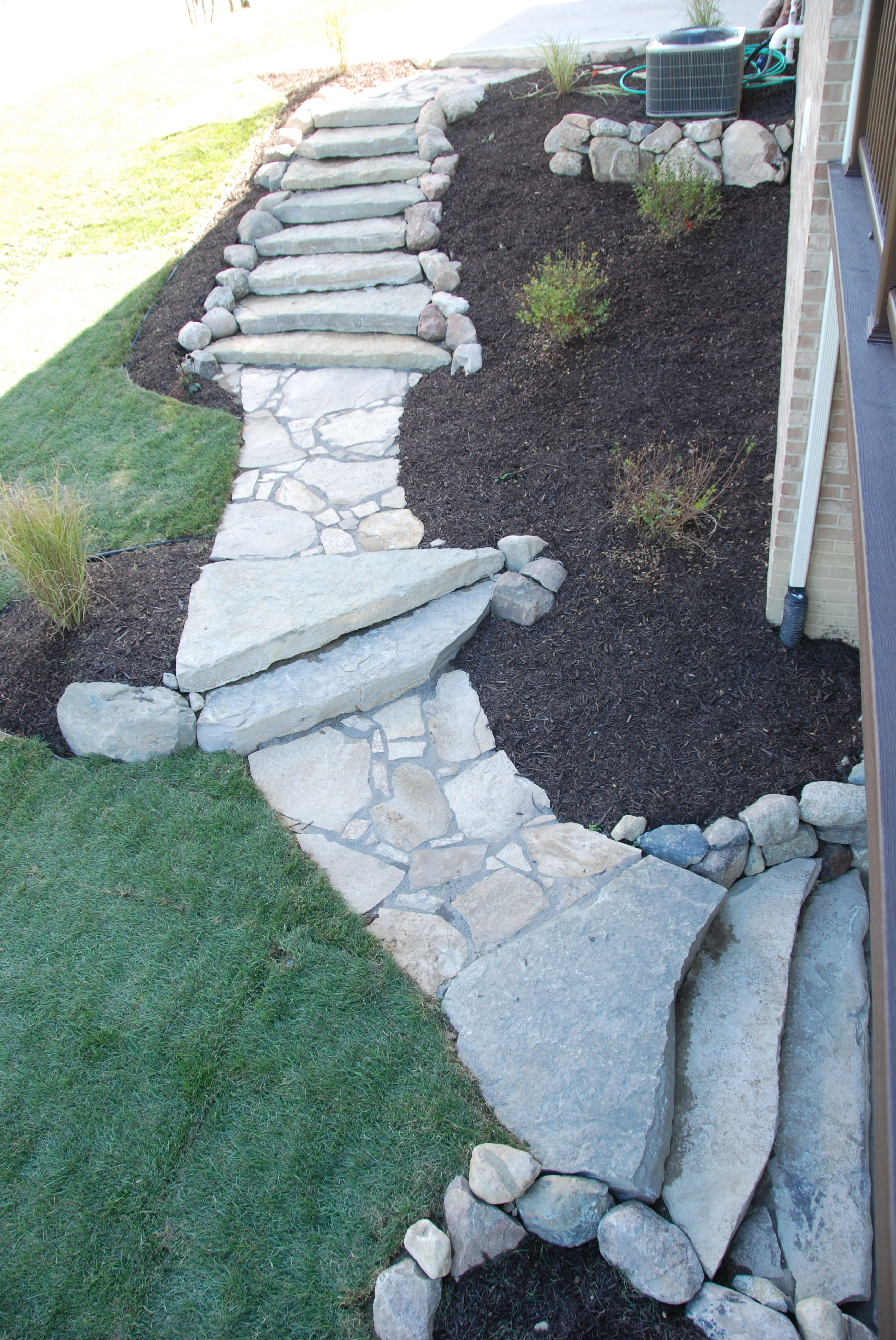 Canadian Flagstone Walkway And Limestone Steps. Unilock Brick Paver Pillar  Diamond Cut. Design And