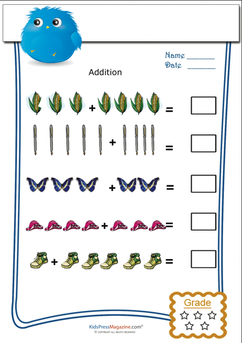 Pictorial Addition For Tuesday – Cool Math Worksheets for Kindergarten