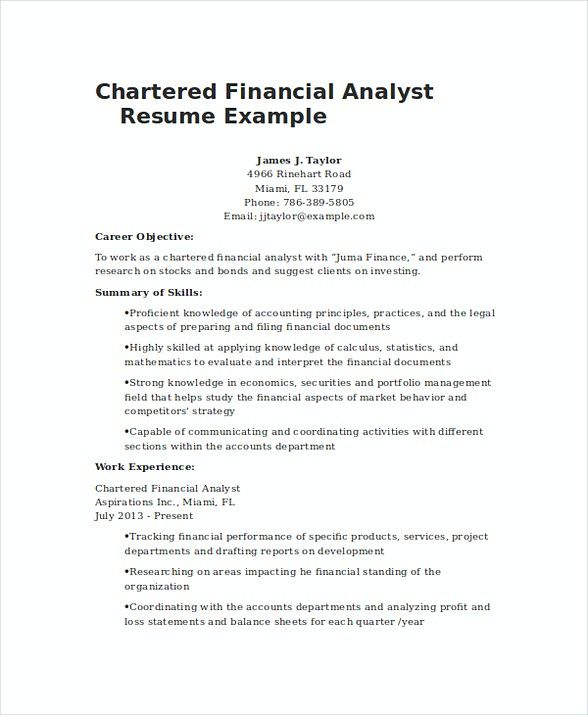 Chartered Financial Analyst Resume Example , Financial Analyst - profit and loss report example