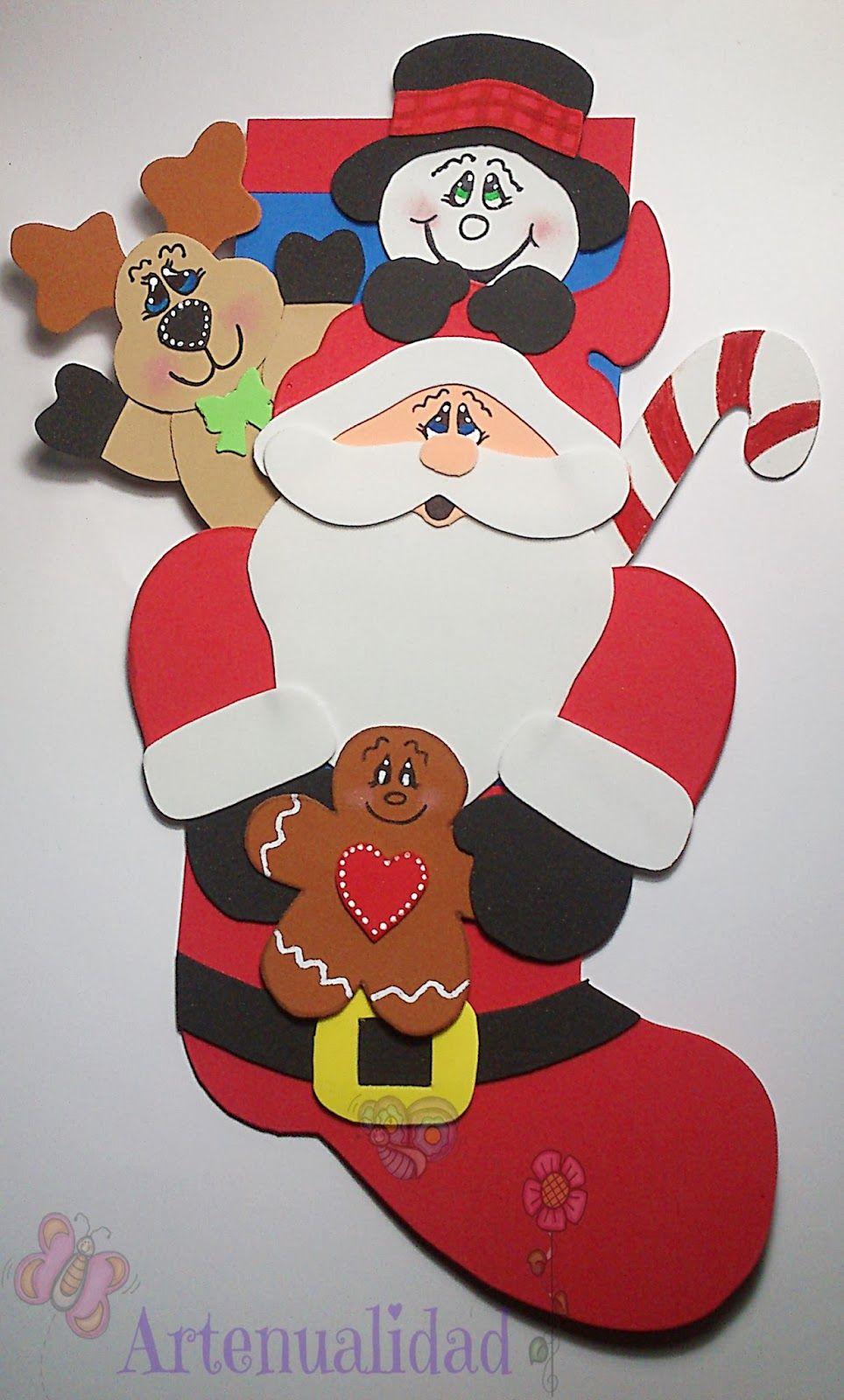 Artenualidad bota navide a de papa noel y sus amigos - Manualidades para hacer en navidad ...