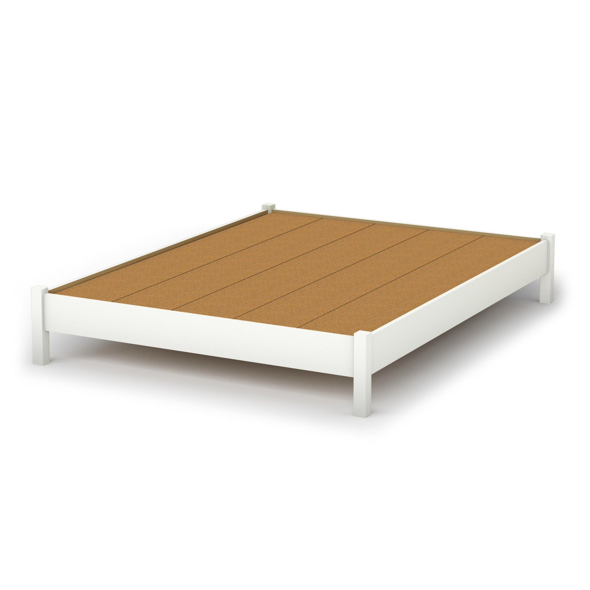 Step One Platform Bed   Queen   Pure White   South Shore