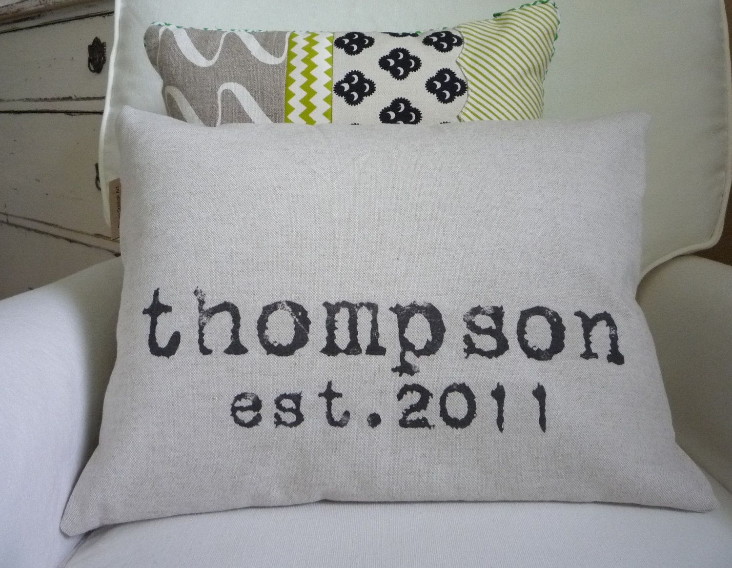 Personalized pillow cover custom wedding gift and family name modern