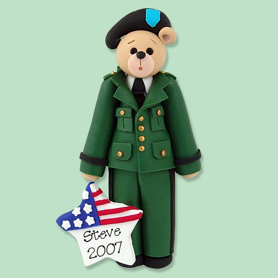 Military Belly Bear Army Soldier Handmade Polymer Clay Etsy Handmade Polymer Clay Army Soldier Personalized Christmas Ornaments