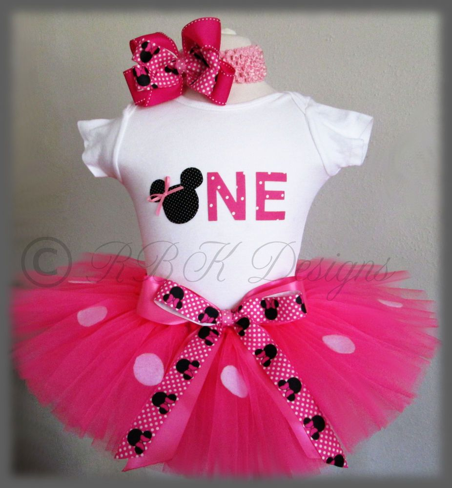 Birthday Minnie Mouse Outfit With Matching Headband