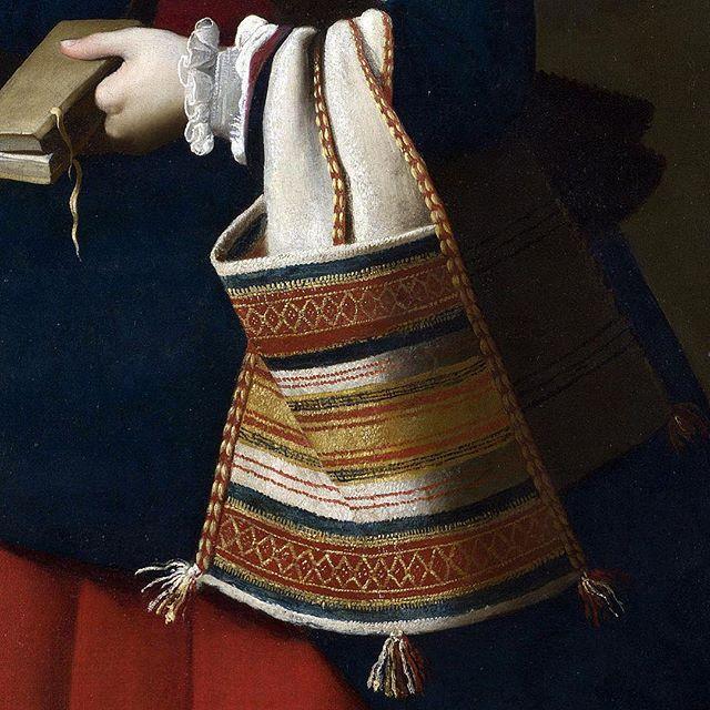 #zurbaran #textile #textiledesign #textiledetail #baroque #baroquefabric #baroquetextile #purse #bag #stmargaretofantioch #cartera #ruffledcuff #baroquestyle #artcrop #artdetail #tassels #textilepattern