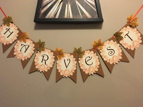 Harvest Banner, Fall Banner, Thanksgiving Banner, Autumn Banner, Fall Mantle Decor #fallmantledecor