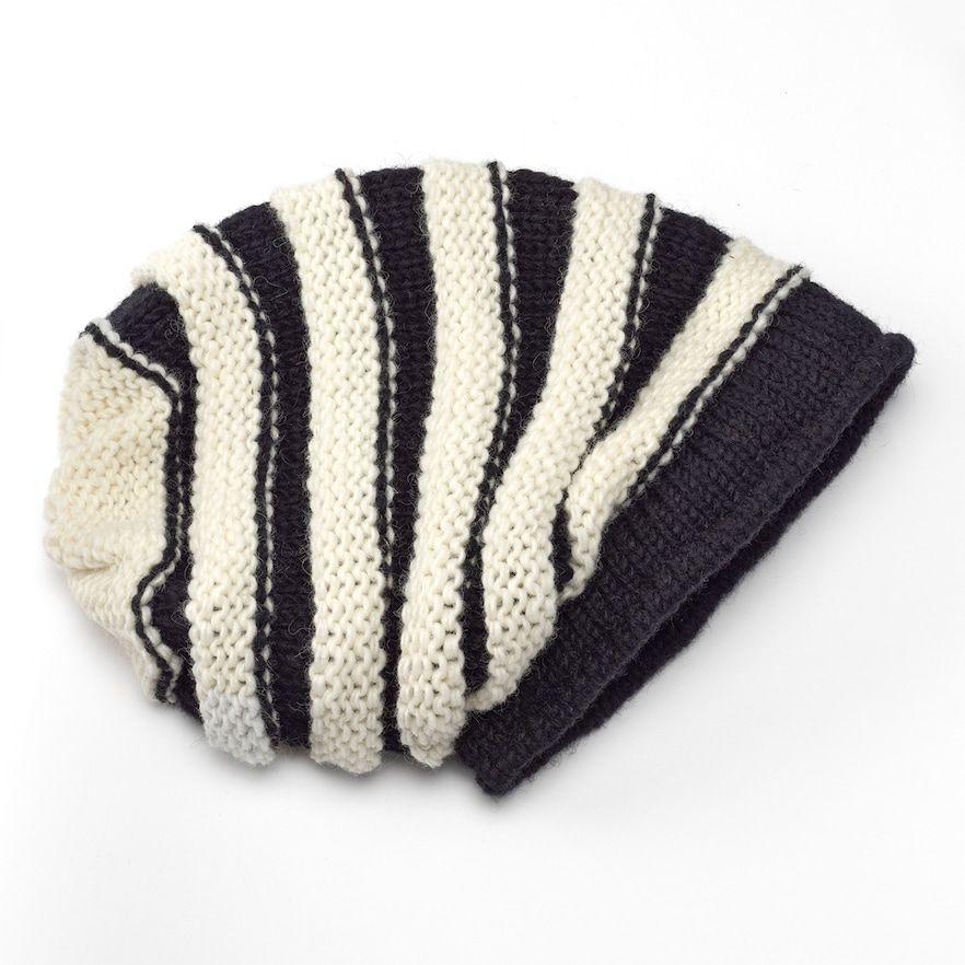 Photo of SIJJL Black & White Stripe Wool Beanie Hat