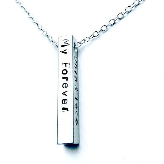 Silver Wedding Gifts For Husband: Personalised Bar Necklace For Him, Necklace For Boyfriend