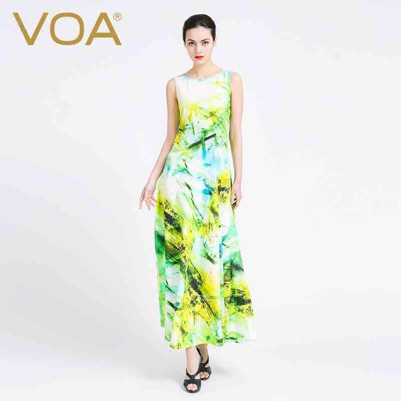 VOA 2017 Summer O-Neck Silk Sleeveless Women Boho Maxi Dress Fashion  Elegant Party Slim Floral Long Dresses Vestidos 2acd8eb7709d