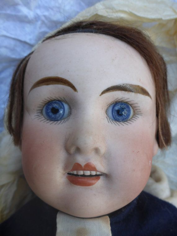 SOLD SOLD SOLD 21ins Antique Boy Doll, Jules Verlingue. Blue Coat School Uniform.