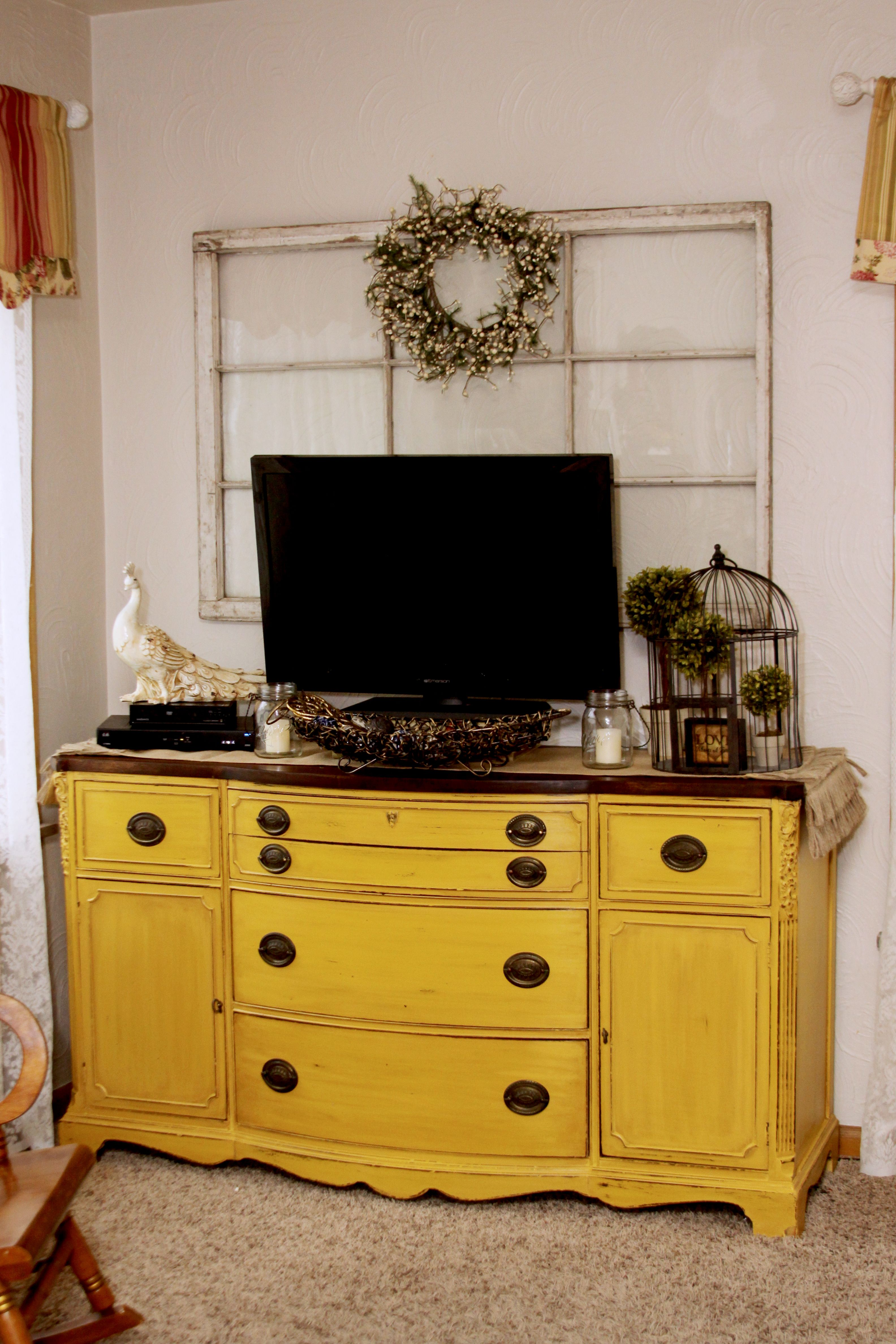 French Country Yellow Painted Furniture Up Cycled Buffet Used As Tv Cabinet I Love The Storage That It Supplies For Dvd S Books
