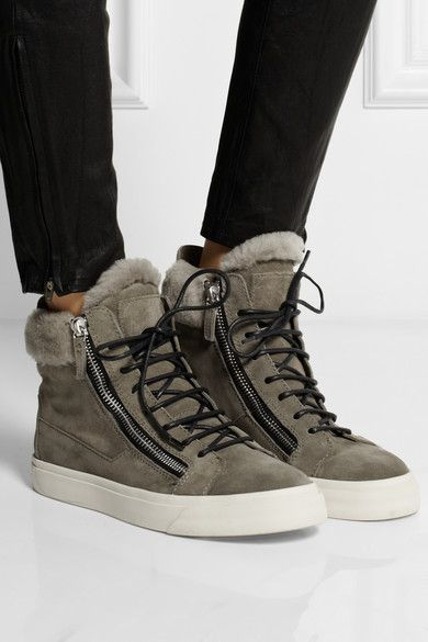 2014 Giuseppe Zanotti London suede and shearling high-top sneakers