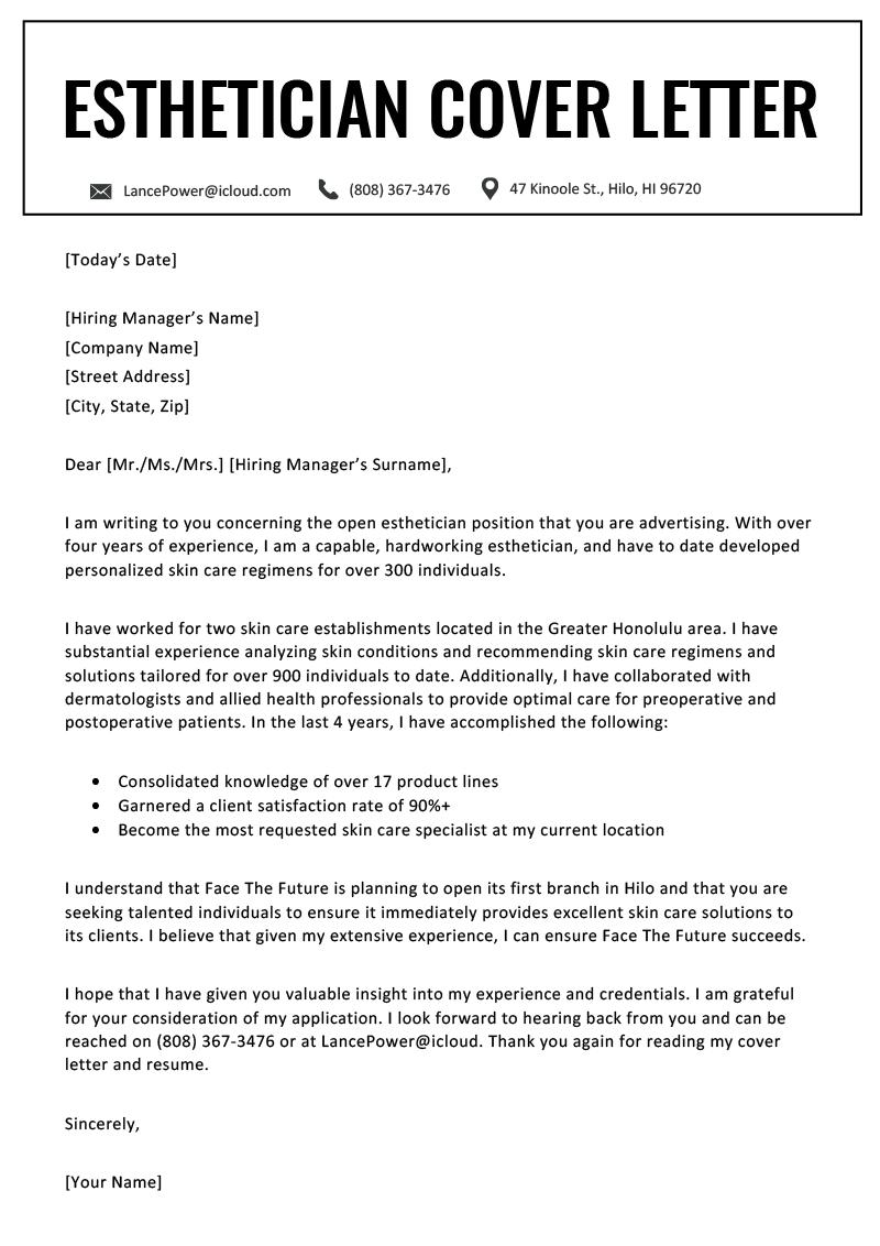 Esthetician Cover Letter Cover letter for resume, Resume