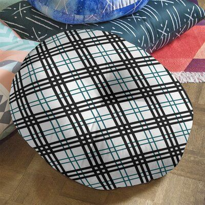 East Urban Home Philadelphia Football Luxury Round Pillow Cover & Insert, Polyester/Polyfill/Polyester/Polyester blend in White/Midnight Green/Black