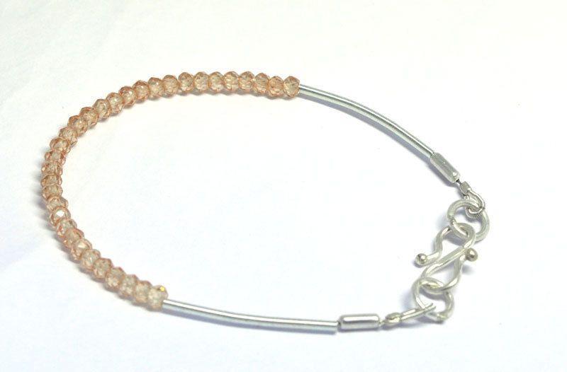 Silver Chain Champagne CZ Beads Wholesale Lot Fashion Friendship Band Bracelet
