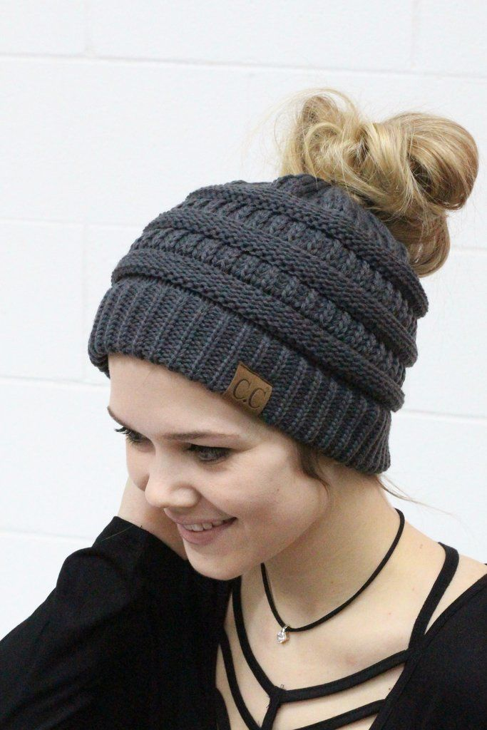 Original CC with messy bun hole in the top. Dark grey. CC Beanie exclusive. 24c3f1477fb