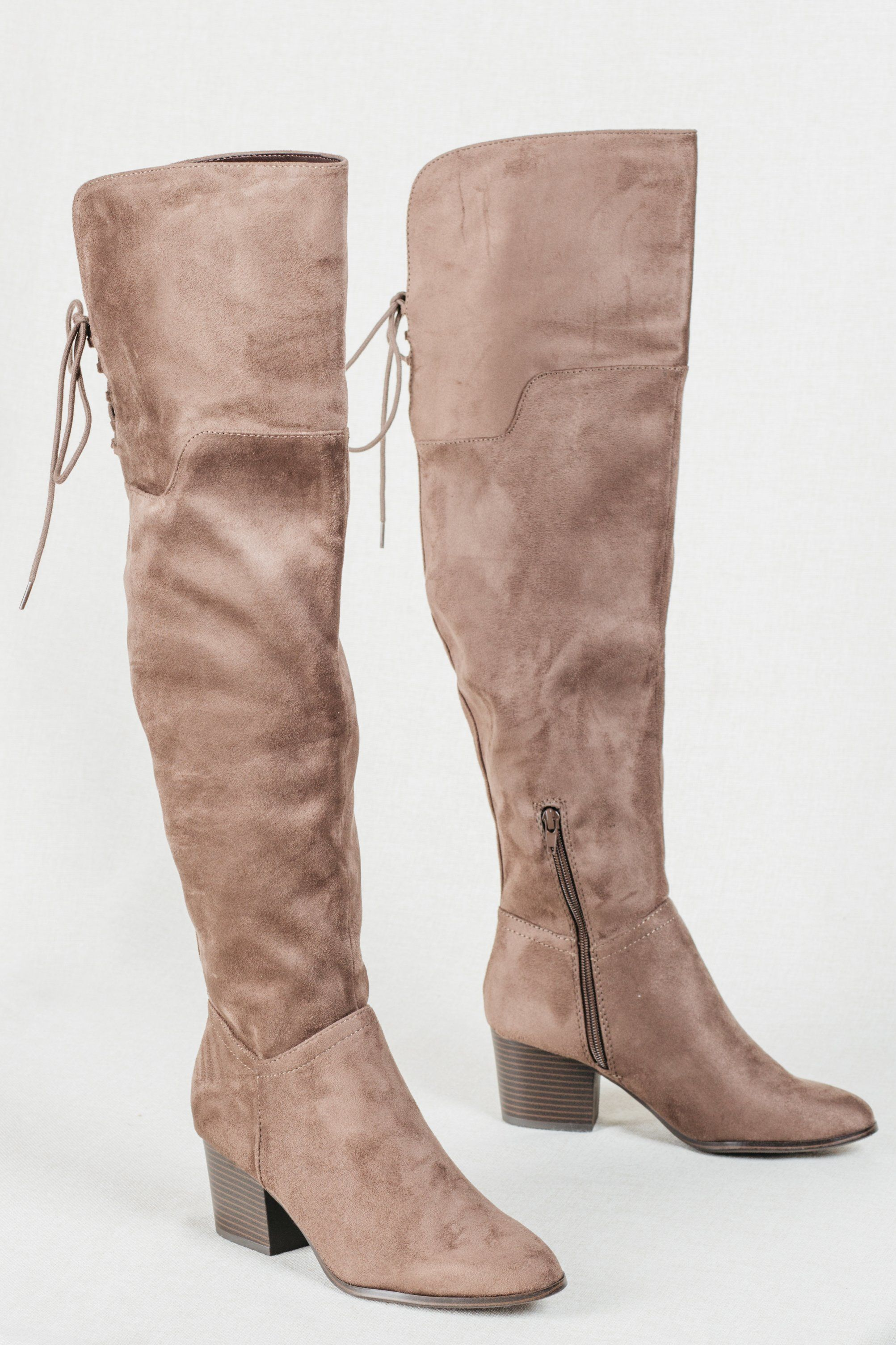 New York Nightlife Boots  brown over the knee boots, suede over the knee boots, light brown boots, light brown over the knee boots, wide over the knee boots, block heel, stacked heel, wooden heel, lace up boots, boots that lace up in the back