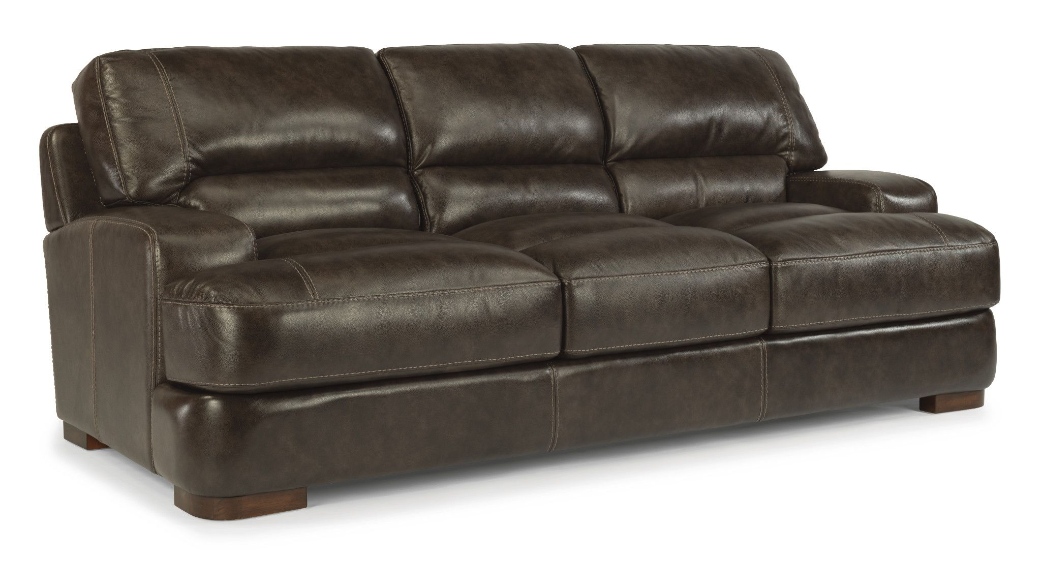 This Flexsteel sofa features a double back cushion and thick box ...