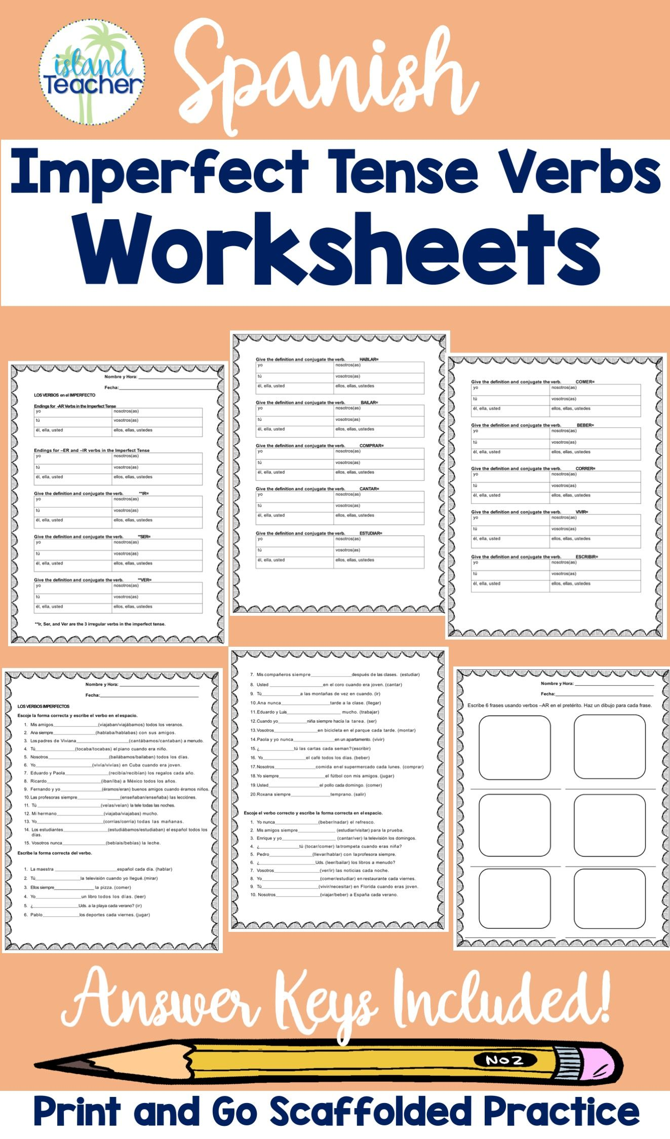 Spanish Imperfect Tense Verbs Worksheets Verb Worksheets Verb Practice Elementary Spanish Lessons [ 2249 x 1323 Pixel ]