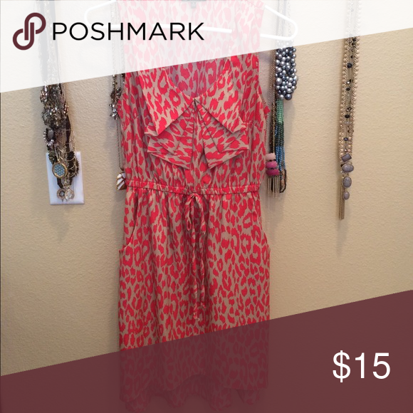 Wrap Dress! Leopard print! Tan and red. Flawless condition. BeBop Dresses Mini