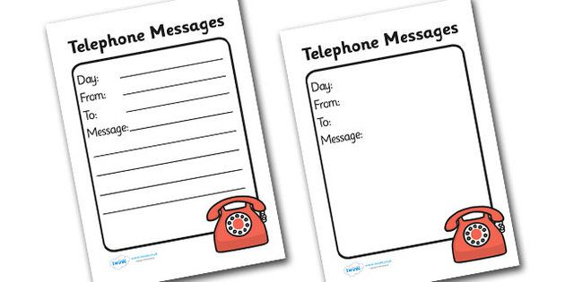 General Telephone Message Template  Organizing