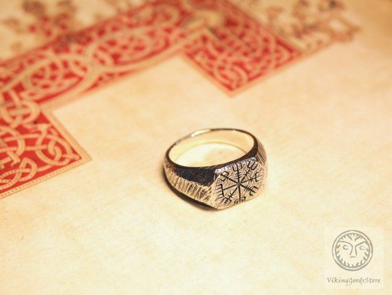 Compass Ring Viking Vegv/ísir Ring Women Men Compass Vegv/ísir Ring Pagan Jewelry
