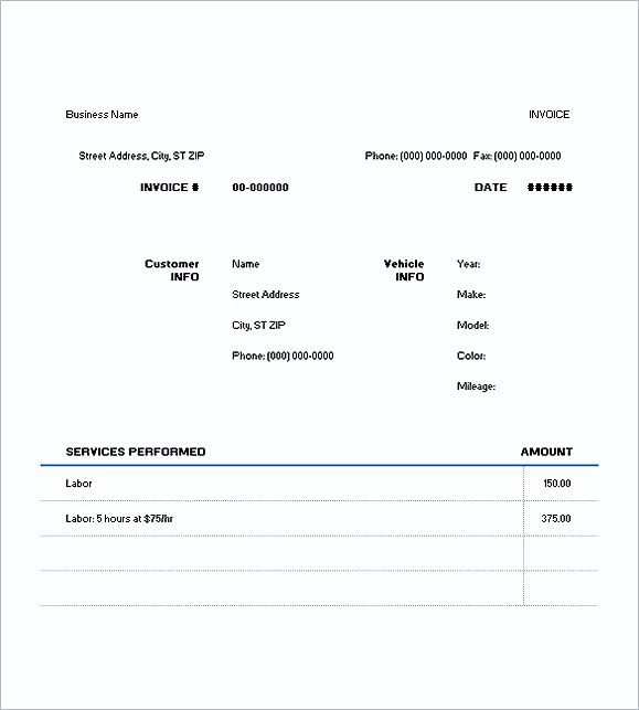 auto repair invoice templates free , Auto Repair Invoice Template - auto repair invoice template