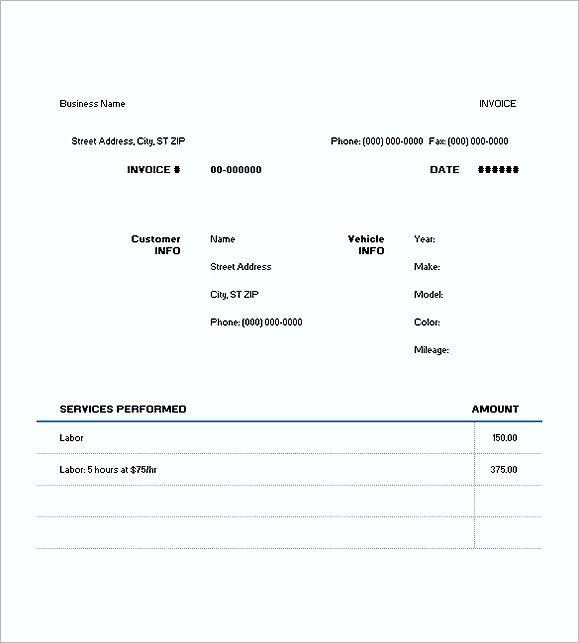 auto repair invoice templates free auto repair invoice template