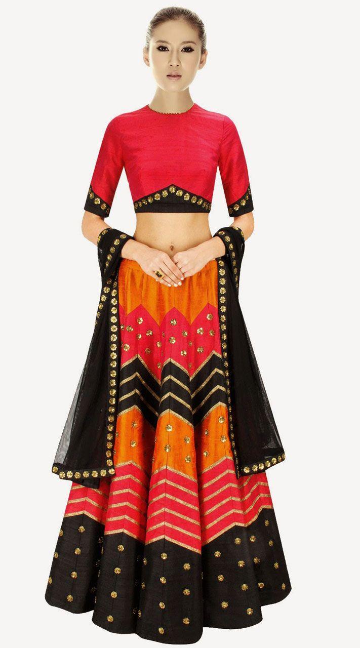 Pretty Orange Raw Silk And Net Designer Crop Top Lehenga. Pretty Orange Raw Silk And Net Designer Crop Top Lehenga   Happily