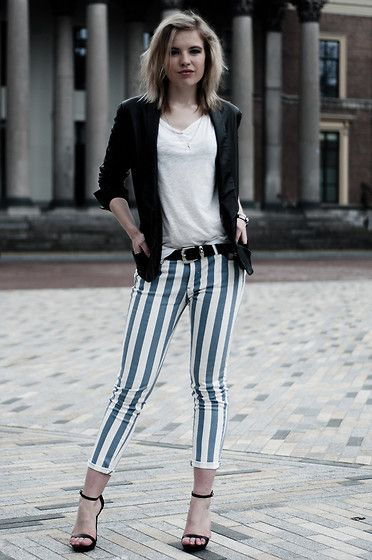 97b108eb The Sting Blue An White Vertical Striped Stripes Pants Jeans Obelix, Mango  Black Leather Suit Jacket Blazer, H Oversized White Basic Tee, Zara Black  Leather ...