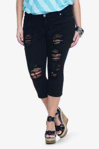 Torrid Denim - Black Destructed Cropped Sophia Skinny Jeans   Shop All Jeans
