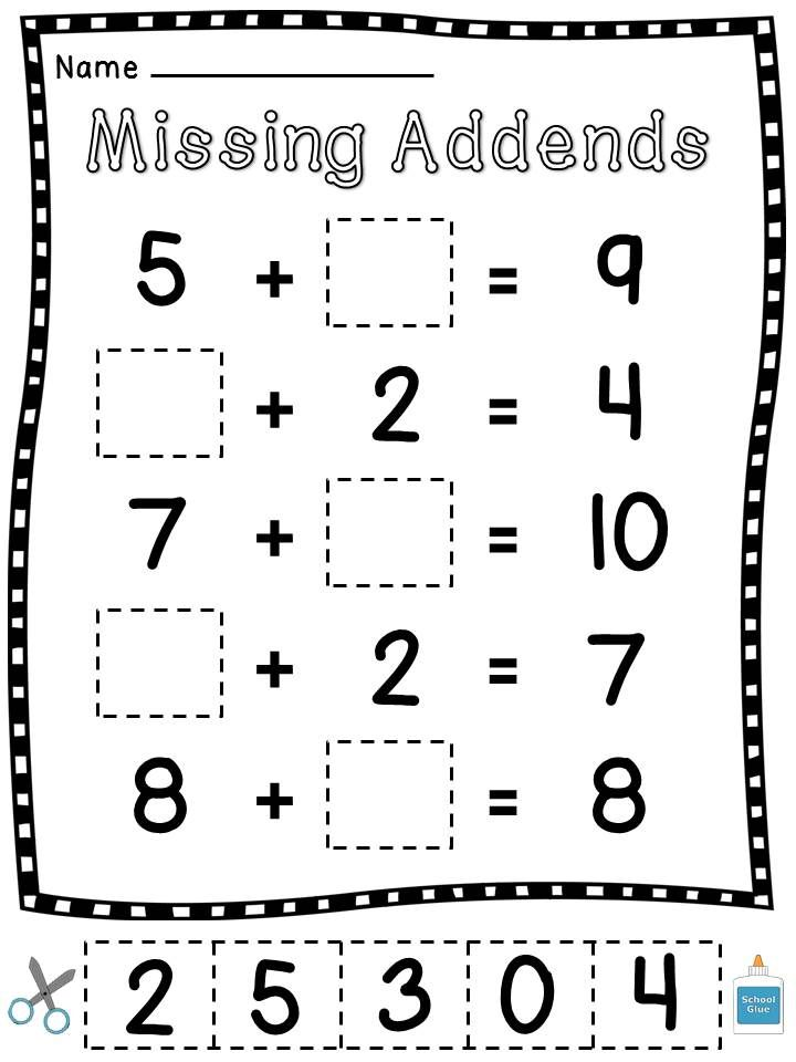 Missing Addends Cut Sort Paste Worksheets. 1st Grade Math ...