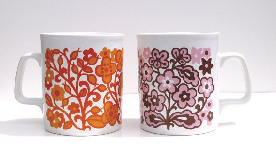 Groovy coffee mugs from the 60s or 70s by Crybabe on Etsy, $10.00