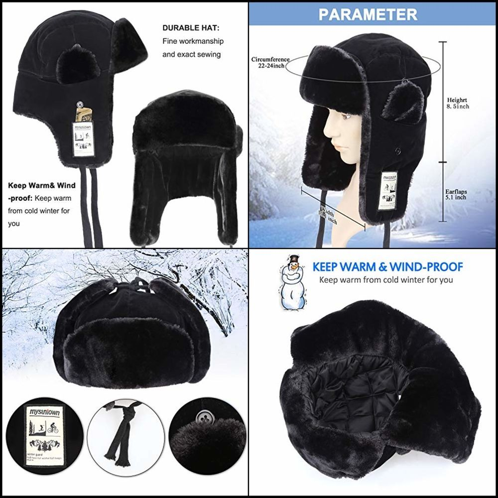 Trooper Winter Russian Hats Cold Weather Snow Gear Bomber Hat for Men and  Women  mysuntown 44e1462a3399