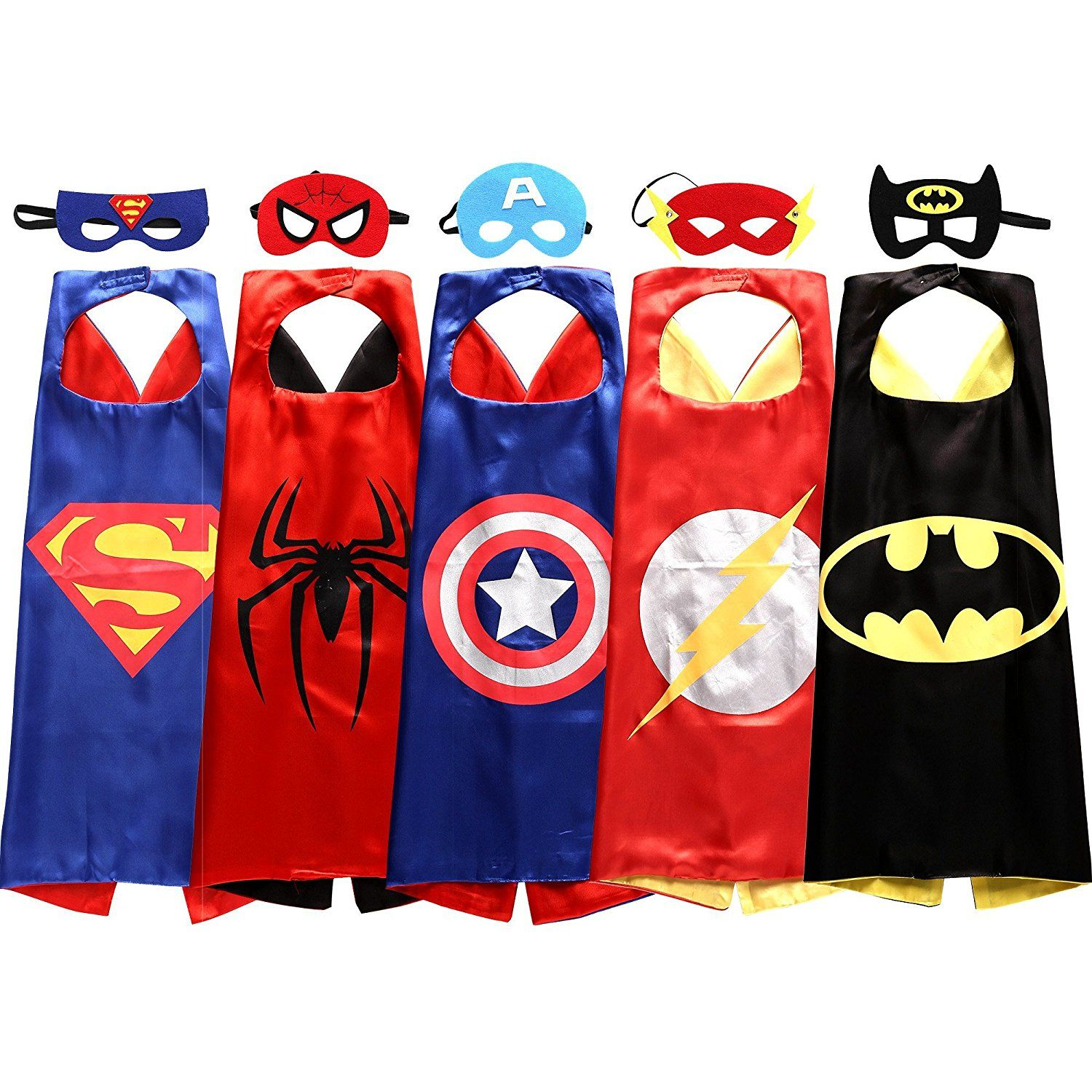 Double sides Satin Fabric Super hero cape mask Children b Kids Superhero Capes