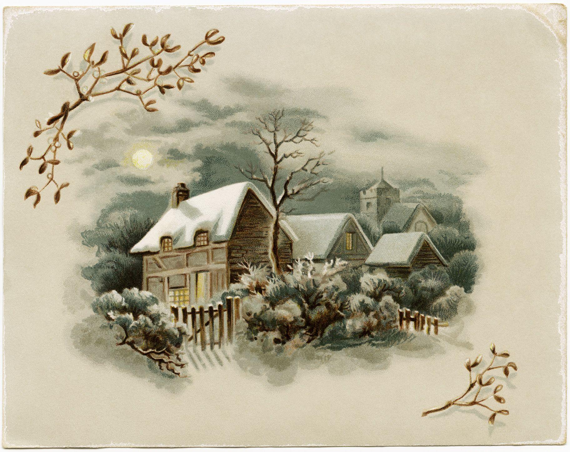 винтажные картинки зима лишней